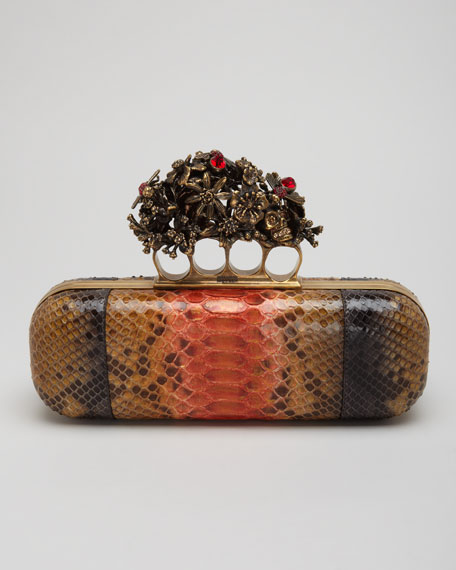 Python Knuckle Box Clutch Bag