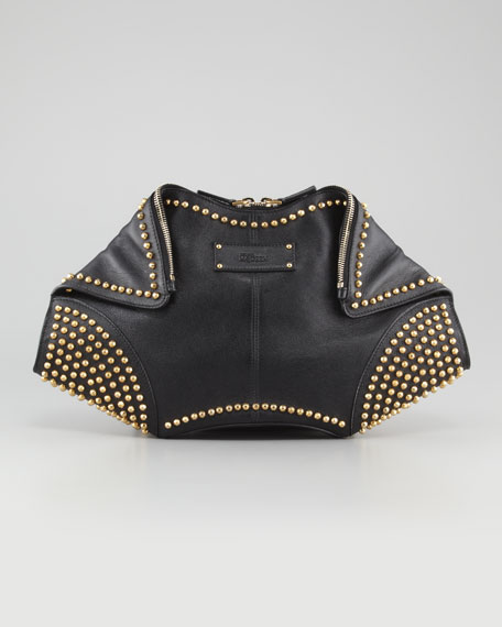 Studded De- Manta Leather Clutch