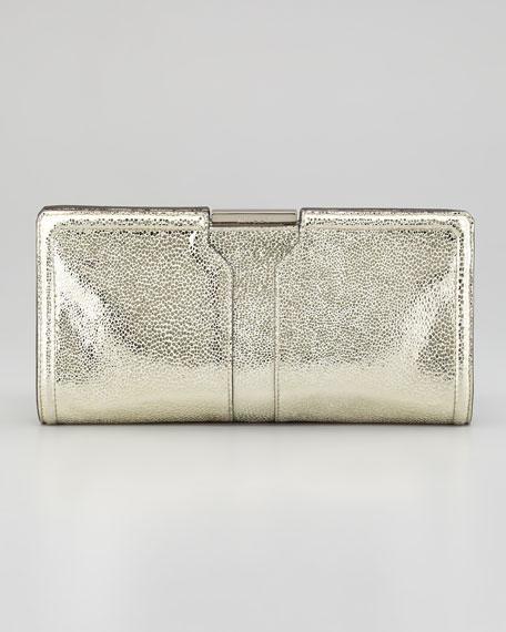 Iris Framed Metallic Clutch Bag, Gold