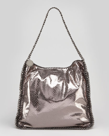 Metallic Snake-Embossed Hobo Bag, Gray