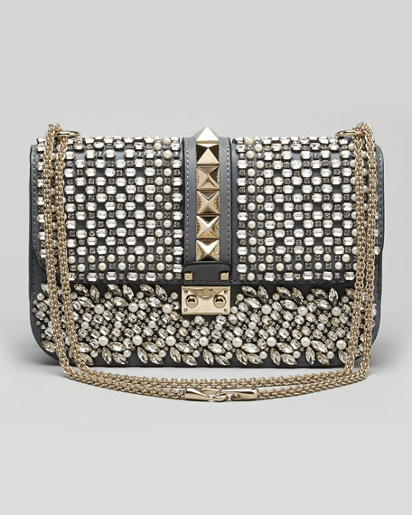 Glam Lock Medium Crystal Shoulder Bag, Stone