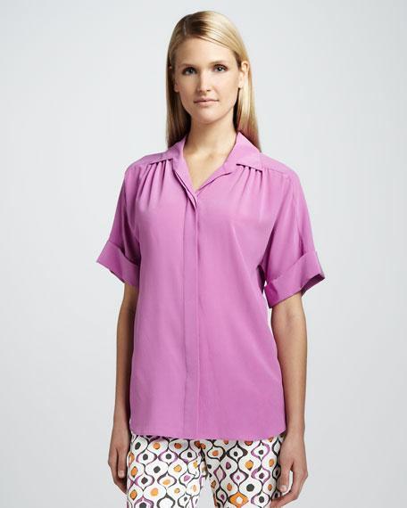Sharona Short-Sleeve Silk Blouse