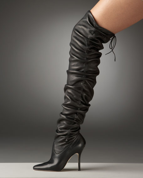 Gathered Over-The-Knee Boot