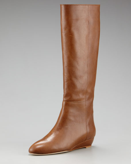 Leather Demi-Wedge Boot
