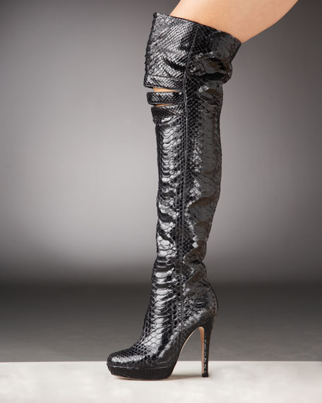 Alexandre Birman Python Over-the-Knee Boot