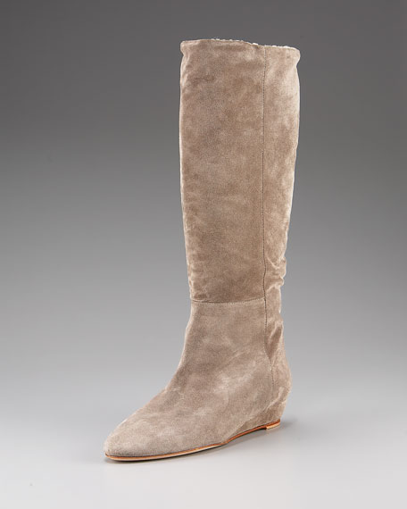 Loeffler Randall Suede Shearling-Lined Boot
