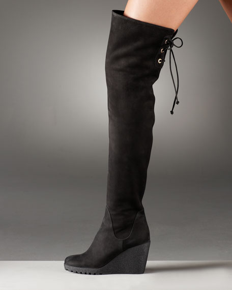 Over-the-Knee Lace-Up Wedge Boot