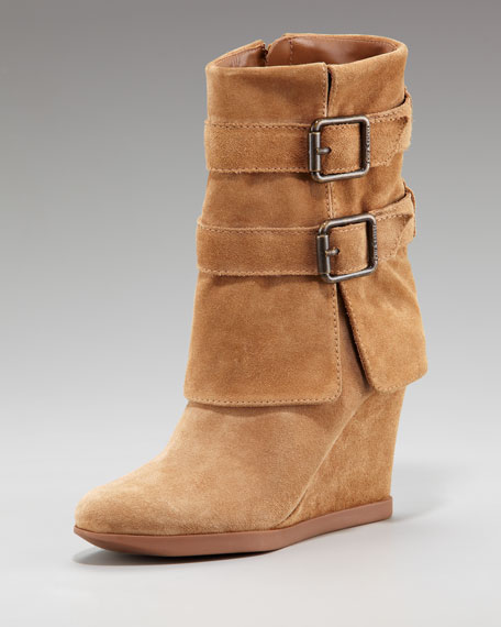 Dale Waxy Suede Wedge Boot