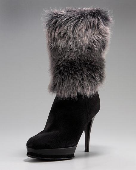 Fur-Cuff Platform Mid-Calf Boot