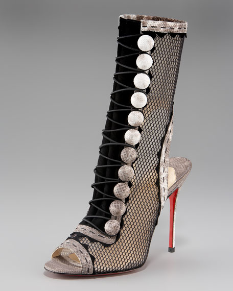Attention Button-Front Fishnet Boot
