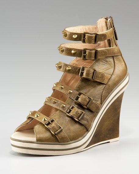 Buckled Cone-Stud Sneaker Sandal