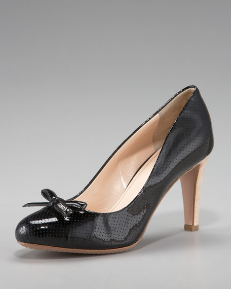 Perforated Patent Leather Pump