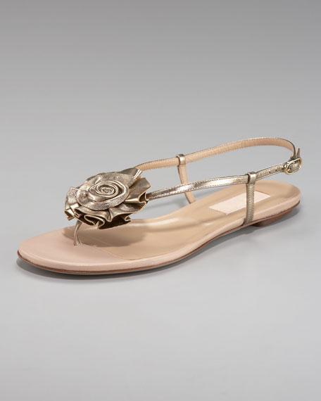 Metallic Rose Thong Sandal