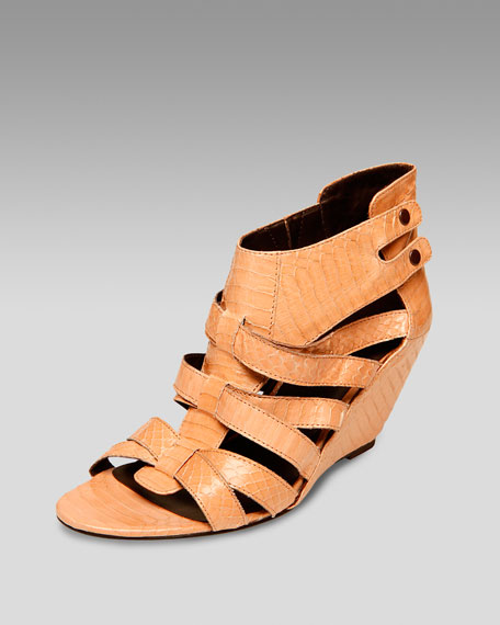 Snake-Embossed Cutout Wedge Sandal