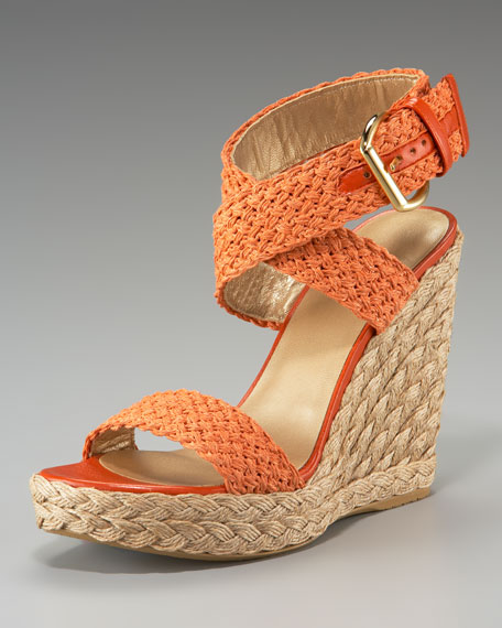Exclusive Crochet-Strap Wedge Sandal