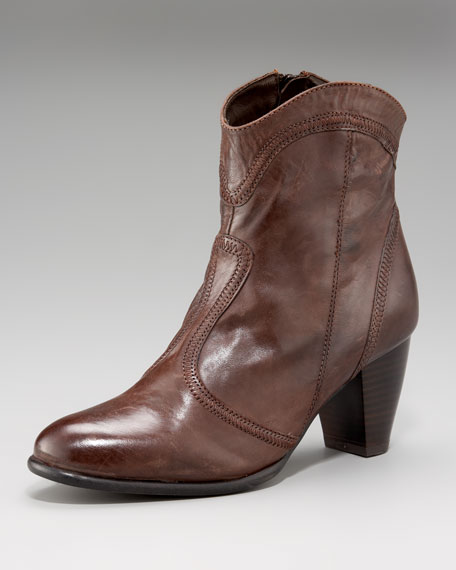 Mid-Heel Leather Ankle Boot