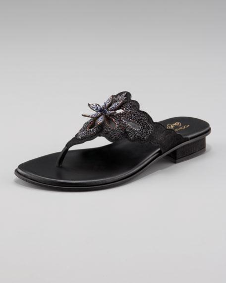 Beaded-Flower Thong Sandal