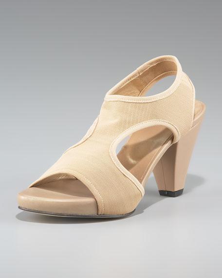 Stuart WeitzmanStretch-Gauze Mid-Heel Sandal