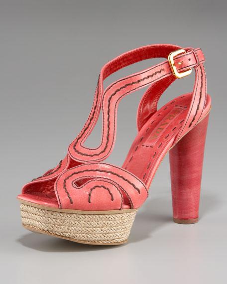 Prada Stitched Platform Sandal