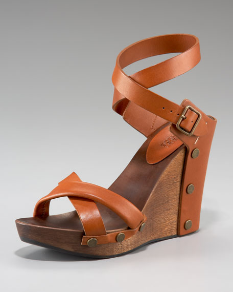 Strappy Ankle-Wrap Wedge Sandal