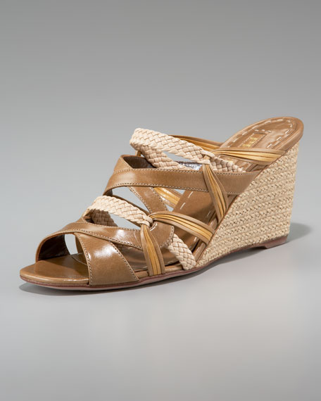 Multi-Strap Espadrille Wedge Slide