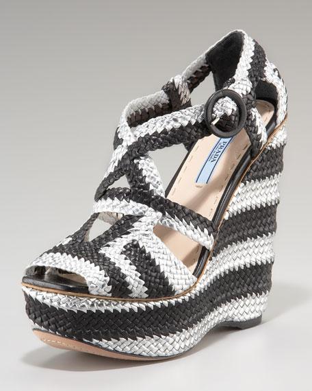 Woven Crisscross Wedge Sandal