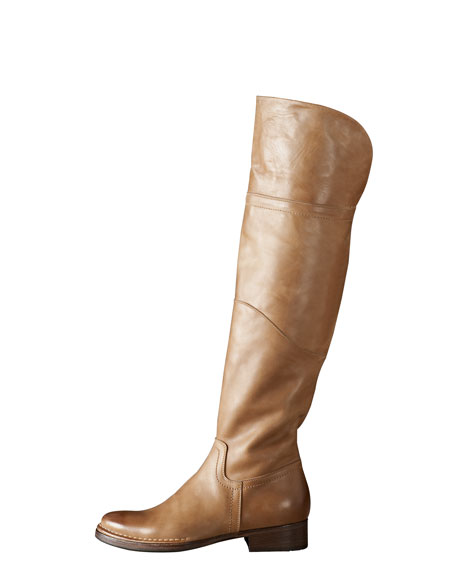 Flat Leather Over-the-Knee Boot