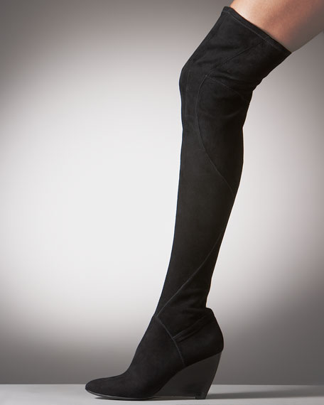 Stretch-Suede Over-the-Knee Wedge Boot