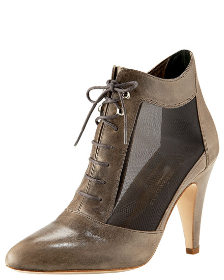 Mesh Lace-Up Bootie