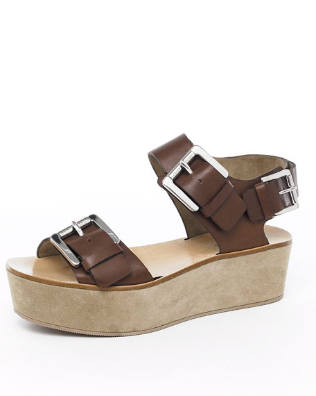 Triple-Buckle Platform Sandal