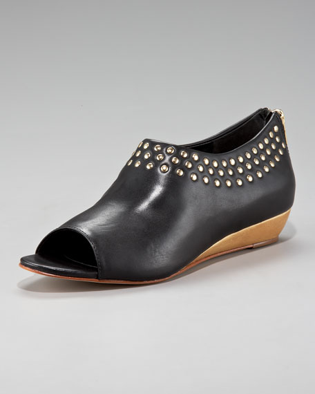 Studded Open-Toe Demi-Wedge