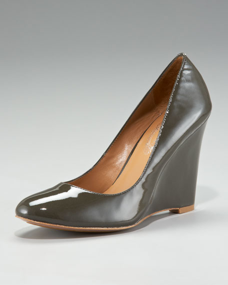Elie Tahari Annie Patent-Leather Wedge Pump