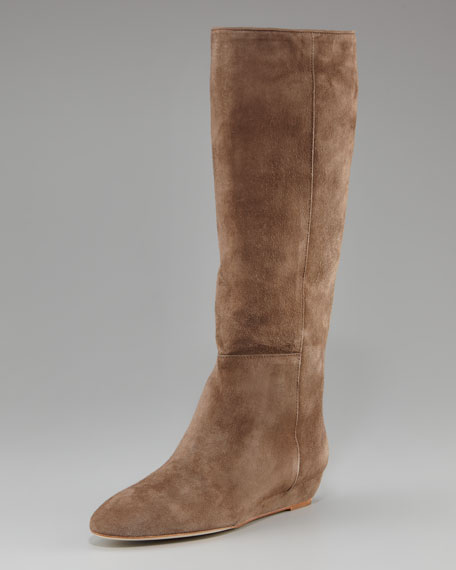 Low-Wedge Knee Boot, Suede