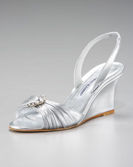 Metallic Halter Wedge Sandal