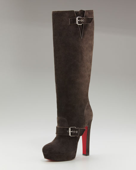 Suede Buckled Platform Boot