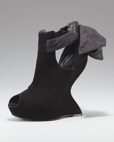 Suede Finned-Wedge Peep-Toe