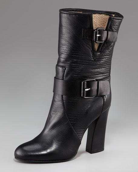 Casadei Dual-Buckle Mid-Calf Boot