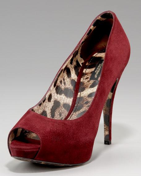 Leopard-Lined Suede Peep-Toe Pump