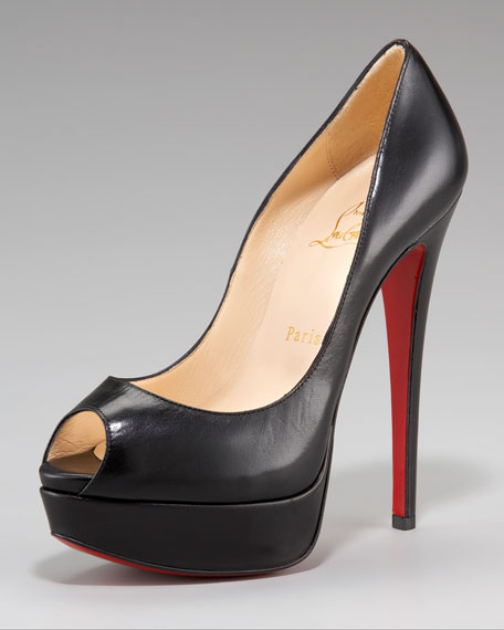 christian louboutin lady peep-toe slingback red sole pump