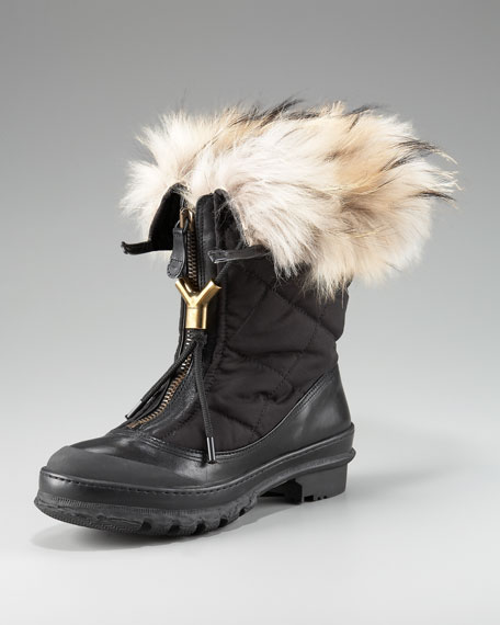 Fur-Lined Quilted Boot