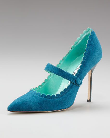 Scalloped Suede Mary Jane Pump