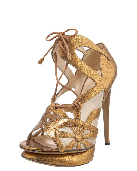 Crackled Metallic Lace-Up Sandal