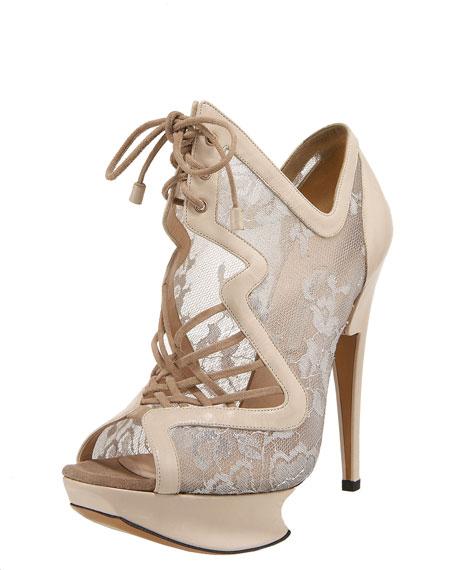 Lace-Up Lace Platform Sandal