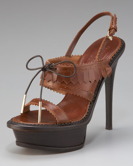 Brogue Slingback Platform Sandal