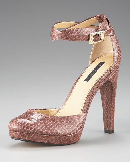 Cole Snakeskin Ankle-Strap Pump
