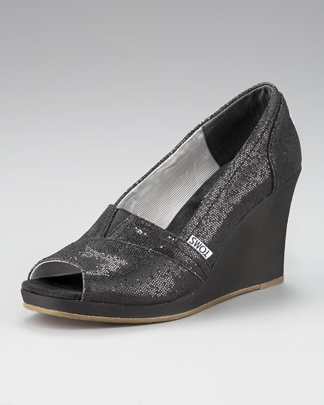 Glittered Peep-Toe Wedge