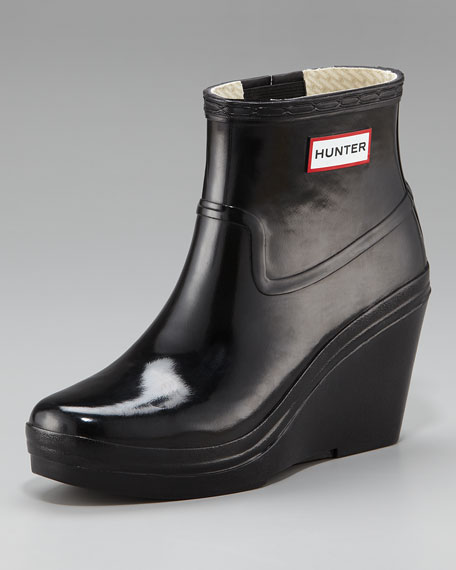 Glossy Wedge Ankle-Length Rain Boot