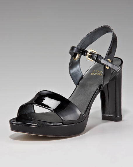 Patent Leather Chunky Heel Sandal