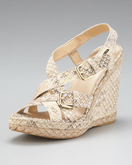 Snake-Embossed Wedge Sandal