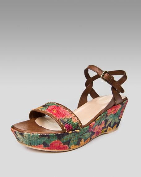 Mid-Wedge Raffia Sandal